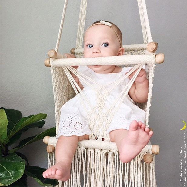 Baby Swing Chair in Macrame Knots. Cream color. Safety assembled. TOP QUALITY. Designer: Hang A Hammock Collective  ★★★ IMPORTANT INFO ★★★  Estimated Time of Arrival (ETA): Estimated shipping times + Processing time  ★ The ESTIMATED SHIPPING TIME depends from the country you live + the method you choose. Methods available:  - The Standard Shipping  → to United States: 2-3 weeks *  → to rest of the world: 8-13 weeks **  - The Courier Shipping  → world wide: 3-5 days ***  ★ The PROCESSING TIME…