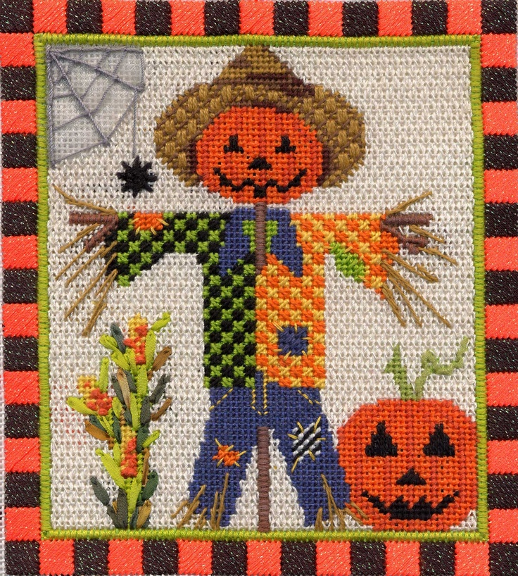 Mr. Scarecrow from Kelly Clark. Needlepoint Stitch Guide available. Image & guide copyright Napa Needlepoint.