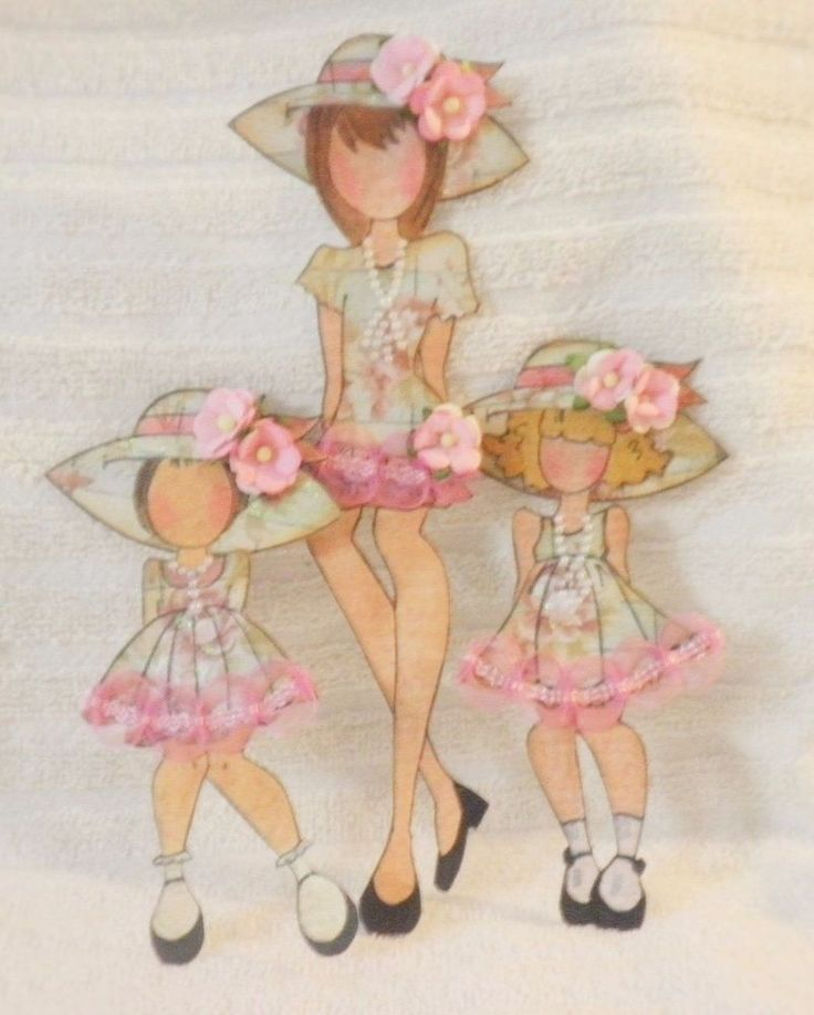 PreMade Shabby Chic Mom & Girls Lace Dress Paper Dolls Paper Piecing by Becky #ShabbyCottageHandmade