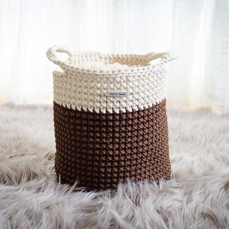 Brown and cream colour basket, handmade storage basket, toy basket, home decor, rope crochet basket by iKNITSTORE on Etsy