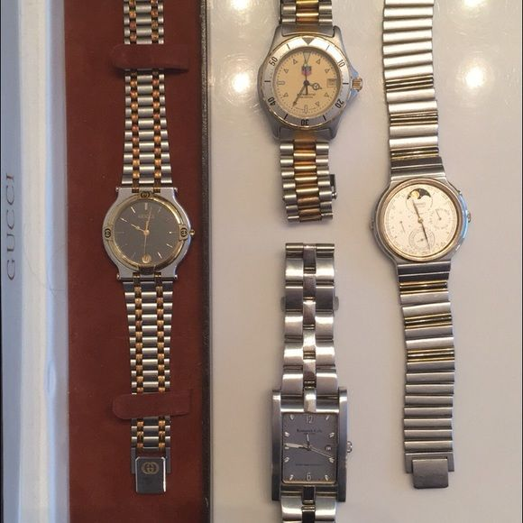 4 brand name watches Left -Gucci.  Top middle -Tag Heuer.   Bottom middle -Kenneth Cole.   Right -Seiko Gucci Accessories Watches