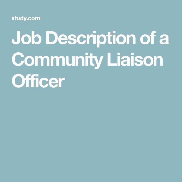 Job Description of a Community Liaison Officer