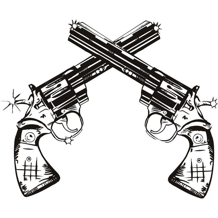 gun drawings | Gun Twin Pistols Wall Art Stickers Wall Decal Transfers