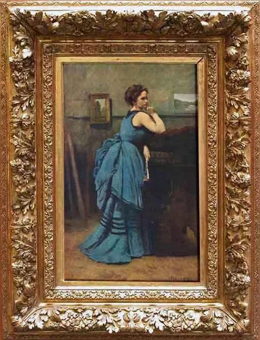 A dama em azul (1874) Jean-Baptiste-Camille Corot - Museu do Louvre    Esta pintura é provavelmente um retrato de uma das amigas de Corot que visitam seu estúdio que pode ser identificado pela paisagem da França e da vista da Itália na parede.    Mas a pintura é antes de tudo um puro exercício de habilidades pictóricas, com a ponta vermelha do leque contra o tecido azul do vestido, e as almofadas contrastando a carne luminosa do braço da mulhe