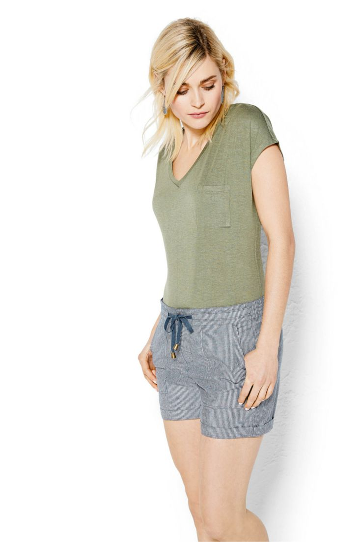 Drawstring shorts in pinstripe make a casual style statement. #looksforless #summerfashion #shorts