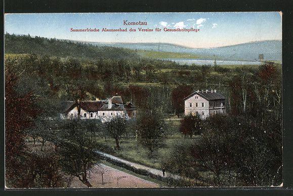old postcard: AK Komotau / Chomutov, Alaunseebad des Vereins für Gesundheitspflege