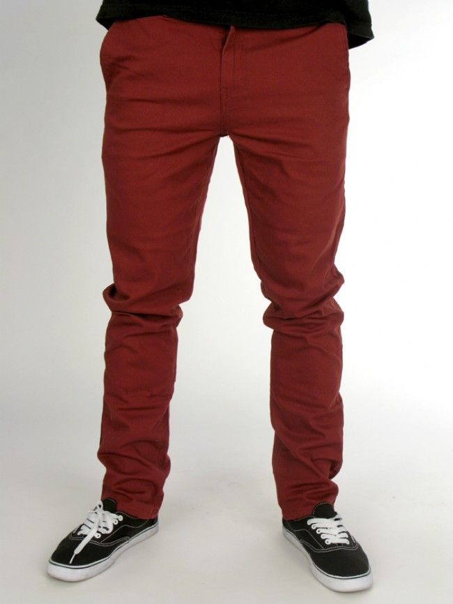 Outsider Slim Fit Chino Pant for men by RVCA. 98% cotton, 2% spandex Model is wearing a size 33.