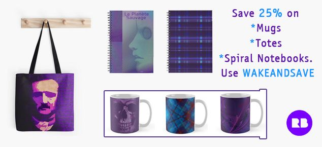 Save 25% on Mugs, Totes, and Spiral Notebooks. Use: WAKEANDSAVE #discount #save #sales #gifts #discountgifts #redbubble #poetotebag #booklovers #coffeemugs #giftsforher #giftsforhim #laplanetsauvage #fantasticplanet #moviegifts #cinephilegifts #notebooks #artistsnotebook #buycoolgifts #teengifts #teens #skullmug #gothicgifts #plaidgifts