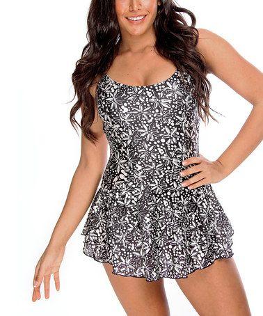 Look at this #zulilyfind! Black & White Floral Swimdress - Women #zulilyfinds