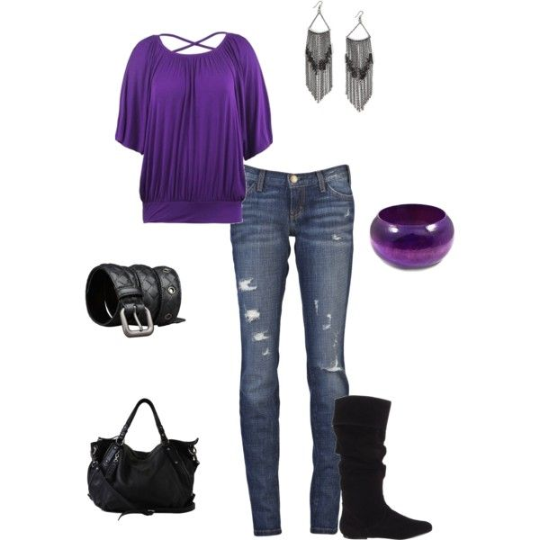 Outfit: Black Purple Outfit, Style, Clothes 3, Cute Outfits, Purple Outfits, Don T, Purple Top