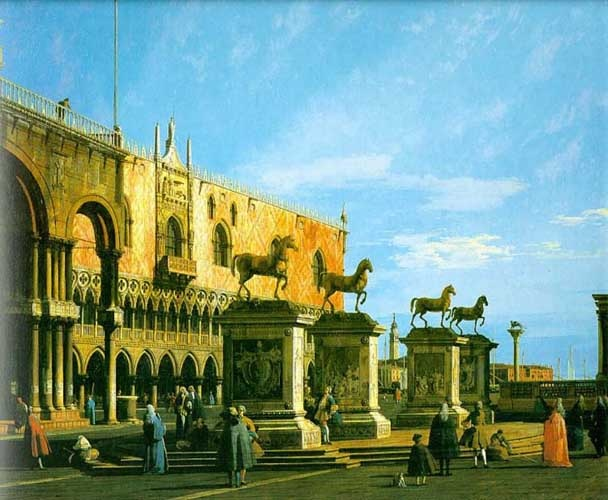 [기상곡:카날레토]  해제: 산 마르코 광장의 일부 모습을 그린 작품이다. 산 마르코 광장은 이탈리아 베네치아에 있는 광장으로 베네치아의 중심지다. 세계 문화 유산으로 등재 될만큼 아름답다. 광장의 3면을 아름다운 건축물이 둘러싸 눈이 부신다.  감상: 파아란 하늘과 넓게 트인 광장은 건물에 둘러싸여 사는 우리에게 형용하기 어려운 쾌감을 준다. 답답하게 갇혀 살지 말고 자유를 느끼며 살라는 무언의 암시를 주는 듯한 그림이다.