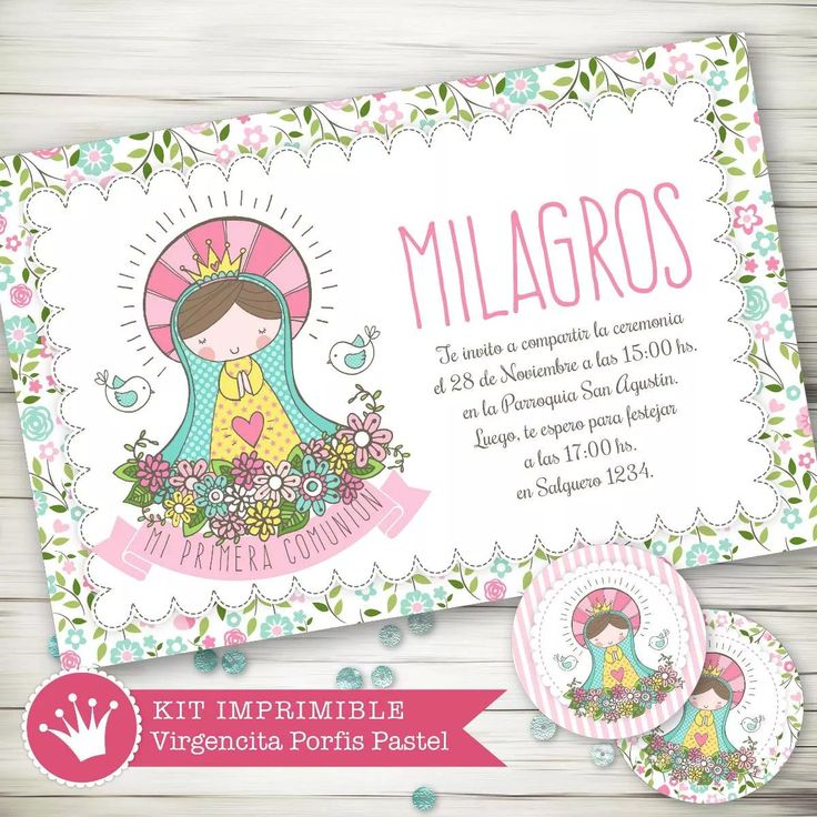 kit imprimible virgencita porfis comunión bautismo candy bar