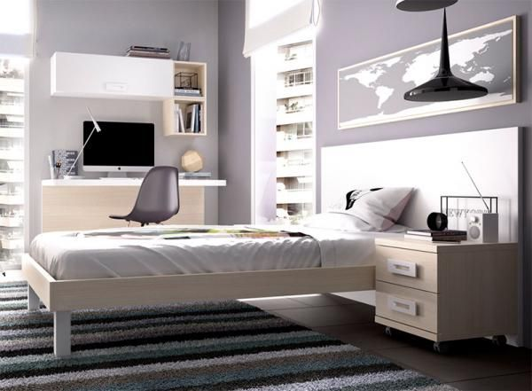 Contemporary Large Headboard Single Bed with Opt Bedside Cabinet
