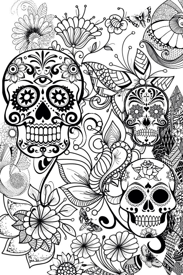 Terrible image pertaining to free printable sugar skull coloring pages