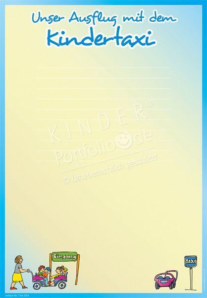 """Kindergarten Portfolio Vorlagen """"Ausflug mit dem Kindertaxi"""""""