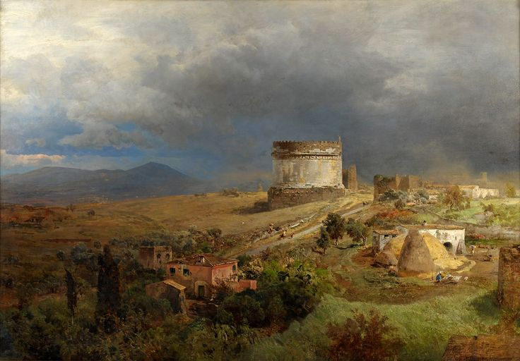 Oswald Achenbach (German, 1827-Dusseldorf-1905), Via Appia with the Tomb of Cecilia Metella, 1886, Private Collection