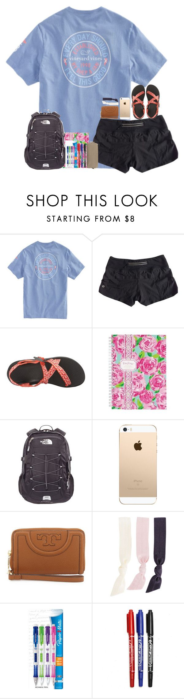 """school supply shopping!"" by hmcdaniel01 ❤ liked on Polyvore featuring lululemon, Chaco, Lilly Pulitzer, The North Face, Tory Burch, Splendid, Paper Mate, Neiman Marcus and bestiesbacktoschool"