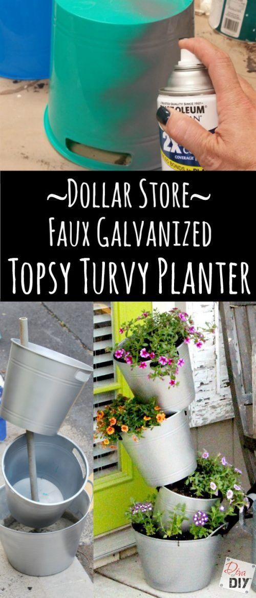 Leanne is truly the Diva of DIY! Make An Easy Faux Galvanized Flower Pot On the Cheap. These go great with our Front Porch Ideas. More Dollar Store Crafts and Hacks on Frugal Coupon Living.