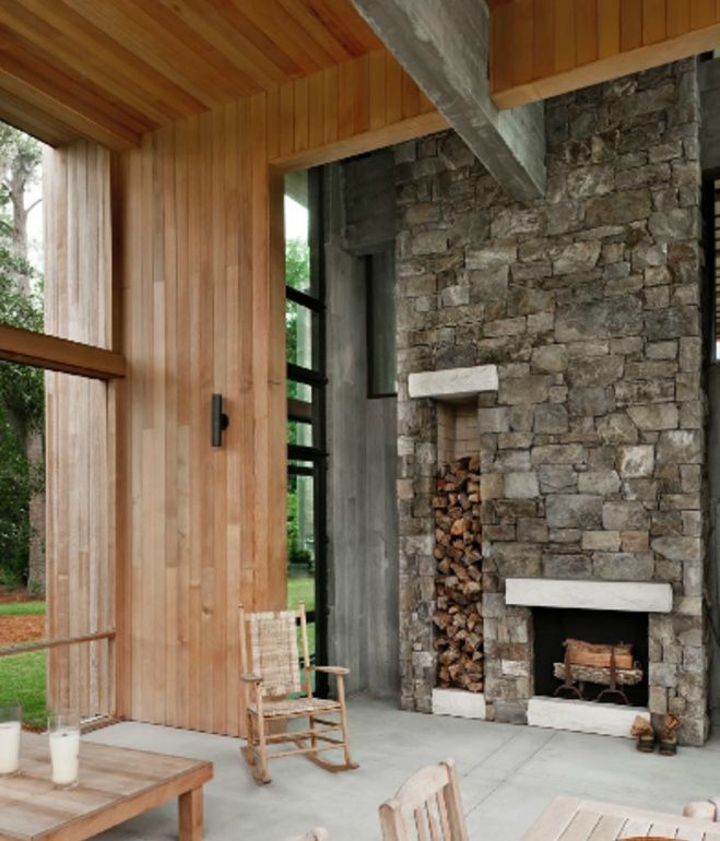 Choate selected maintenance-free materials for the project wherever possible, including the stone on this fireplace, which includes built...