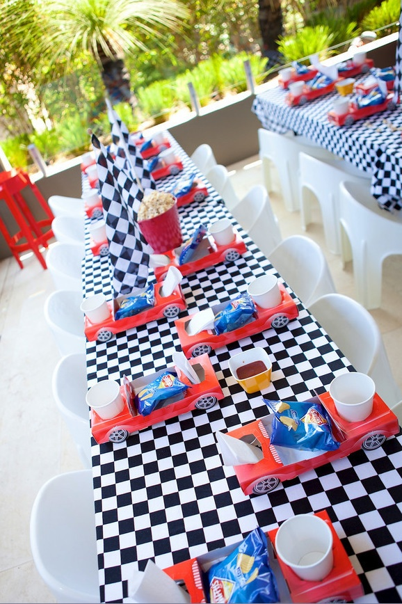 Racing Car Table Setting  Munchkin Tables   Kids Party Hire  Sydney - 0411 641 350