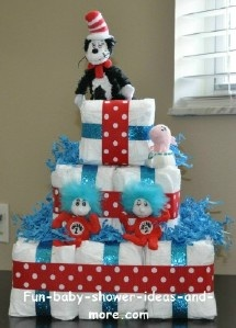 Square Diaper Cake with Instructions and other ideas: Shower Ideas, Cakes Ideas, Gifts Ideas, Seuss Diapers, Diaper Cakes, Diapers Cakes, Squares Diapers, Dr. Seuss, Baby Shower