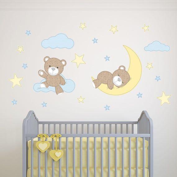 Teddybar Aufkleber Jungen Kinderzimmer Wand Sticker Sterne