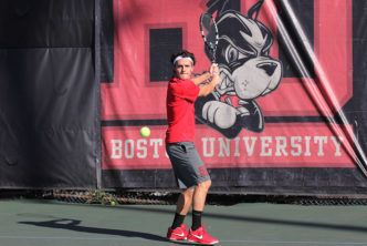 BU Today  Terrier men begin play this weekend, women April 27 Jake De Vries (COM'17) and the BU men's tennis team will match up with Colgate in the quarterfinal round of the Patriot League tournament tomorrow at Navy.