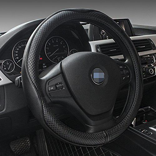 Car Leather Steering Wheel Cover Universal Breathable Anti-slip Wheel Sleeve Protector (Black). For product info go to:  https://www.caraccessoriesonlinemarket.com/car-leather-steering-wheel-cover-universal-breathable-anti-slip-wheel-sleeve-protector-black/