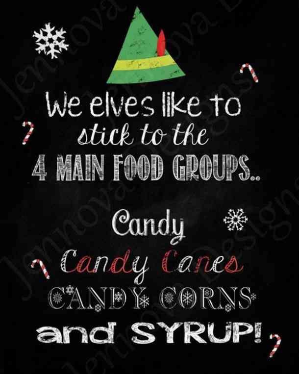 """""""Wir Elfen halten uns gerne an die 4 Hauptnahrungsmittelgruppen … Süßigkeiten, Zuckerstangen, Süßigkeiten …   – School"""
