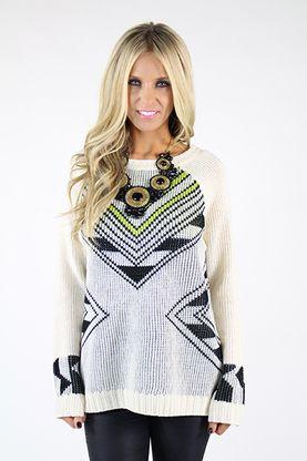Round Neck Long Sleeve Tribal Pattern Sweater Tunic