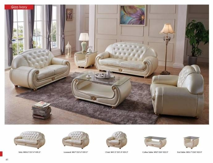 Contemporary Luxury Beige Leather Living Room Sofa Set 3pcs Esf