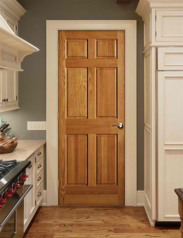 Our new home has oak trim with matching 6 panel doors for Wood doors painted trim