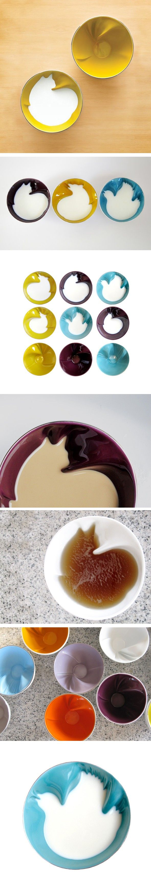 Porcelain bowls designed by Geraldine de Beco for Bernardaud in France. When the bowls are filled with a liquid, the image of an animal is formed (cat, dove, wolf). These are bowls, but I would love a mug like this!