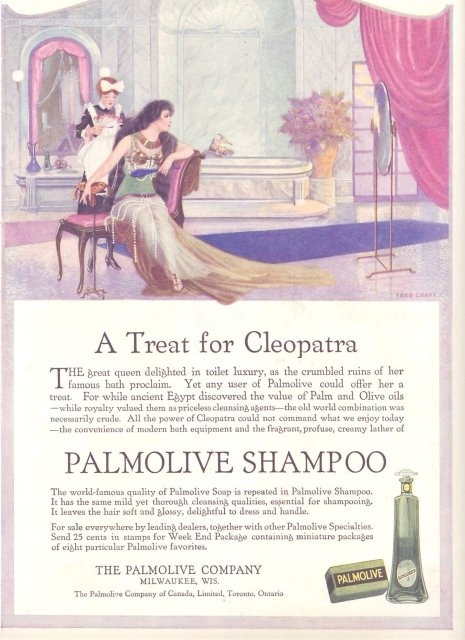 Beautiful modern evocation of beauty icon, Cleopatra as she appeared in a rare Palmolive Ad for the recently minted magazine, Vanity Fair, 1914.