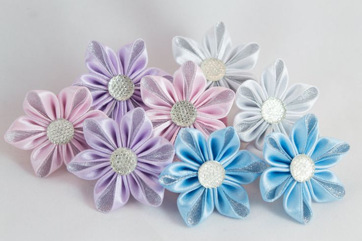 Elastic band for hair silver scrunchies kanzashi by myflowersshop