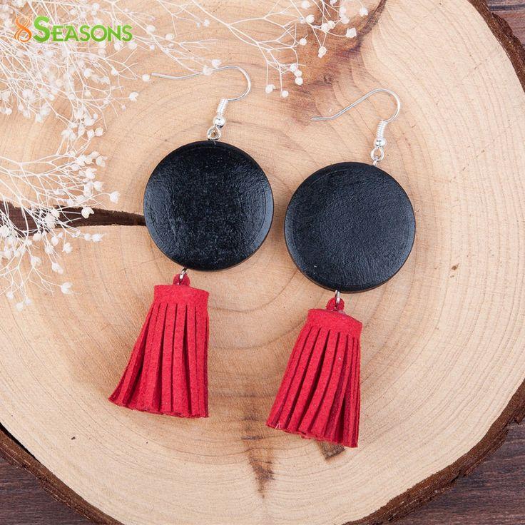 8SEASONS Women Drop Earrings Handmade Silver Plated Black Round Wood Beaded Korea Velvet Red Tassel Pendant Earrings 1 Pair