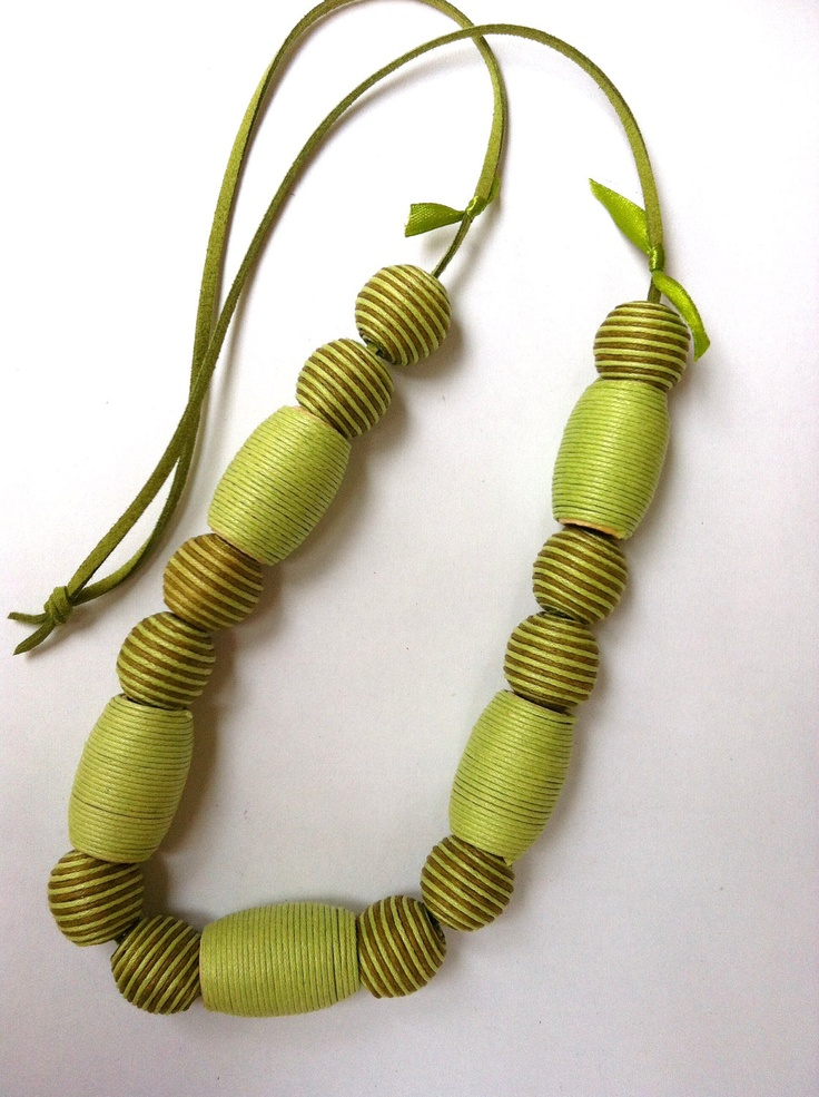 Green beaded necklace  (made to order). $25.00, via Etsy.