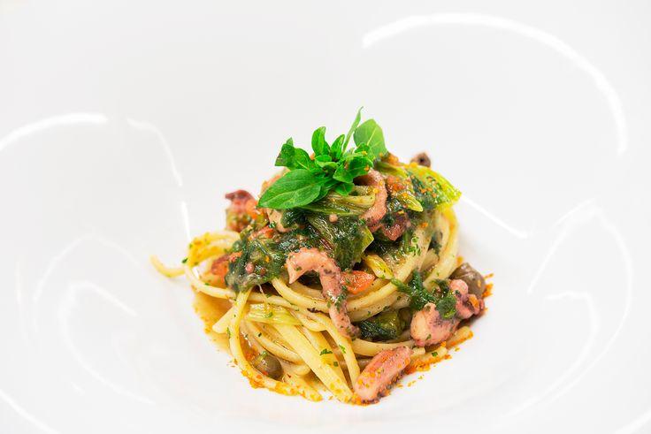 #Taste Linguine con polipetti veraci e scarola saporita con grana grossa di capperi, olive e prezzemolo #chef #GennaroImmobile #ristorante