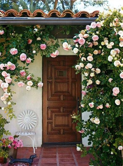 "love the roses..more of a ""cottagey"" feel..: Exterior, Dream, Beautiful, Outdoor, Climbing Roses, Front Doors, House, Garden, Flower"