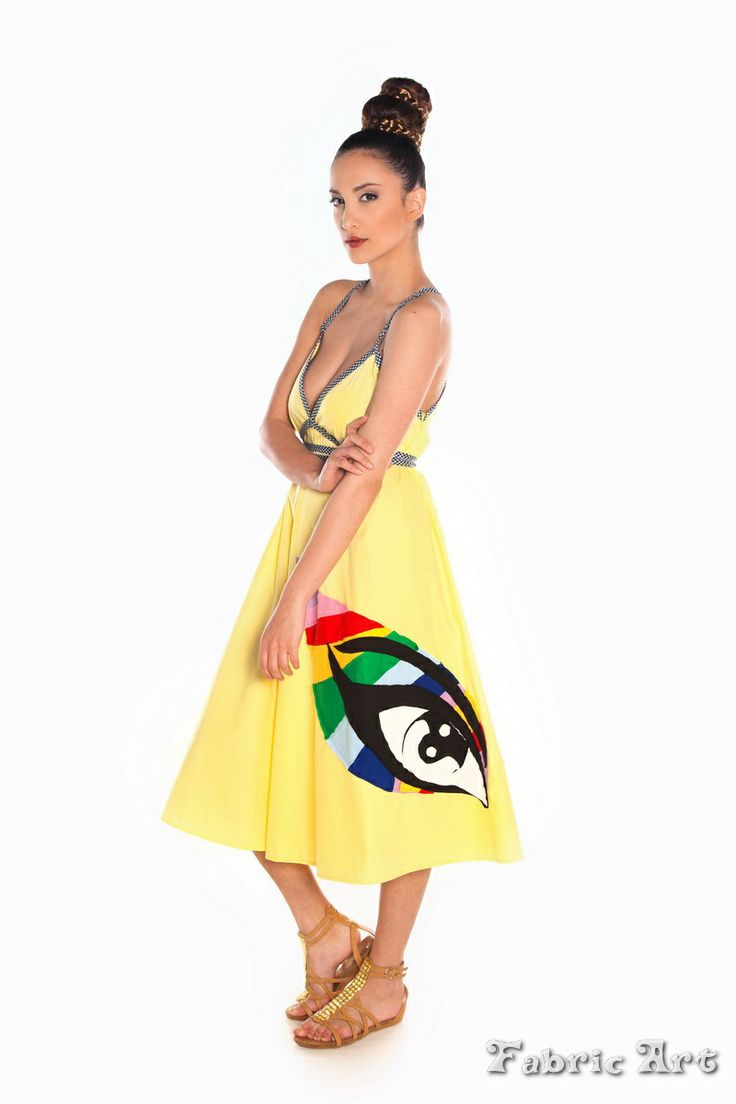 "Strappy midi dress with handmade applique ""Colourful Creative Eye"""
