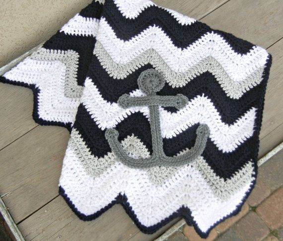 Chevron Anchor Baby Blanket Navy Blue Gray Shower Gift
