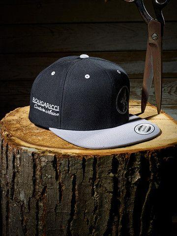 2 tone Black/Gray cap - Embroidered White Side Bougaricci Logo