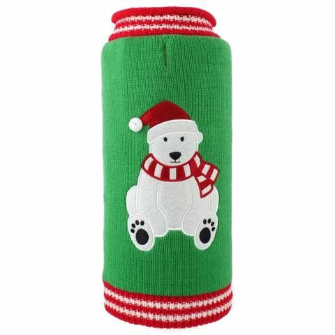 Clothing - Worthy Dog Christmas Bear Dog Sweater - Green