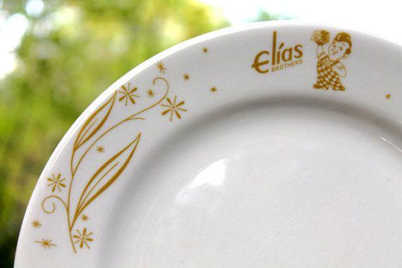 Retro ELIAS BROTHERS Restaurant Ware Plates  by DukeCreekStudios