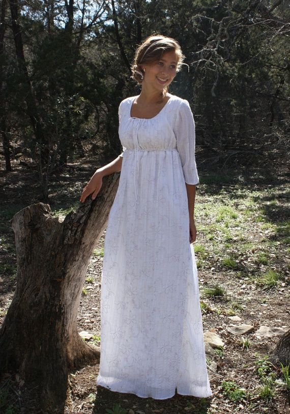 Regency Drawstring Gown Jane Austen Dress  by SewManyTreasures, $165.00.  Not all would want this dress, but I love it. Old look, but so comfy, think I will make it .  Looks like what we wore in the 70's, only prettier.
