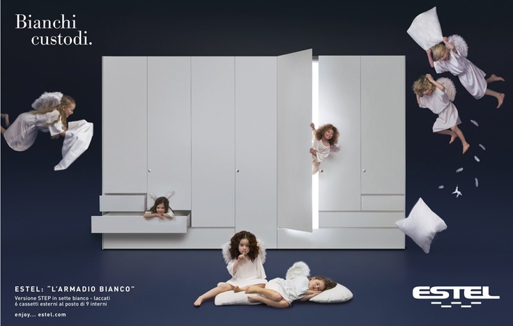 La nuova pubblicità di Estel che usa gli angeli per promuovere le 7 tonalità di bianco.