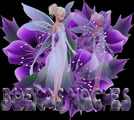 Hermosa hada junto a flores violetas para darte las Buenas Noches