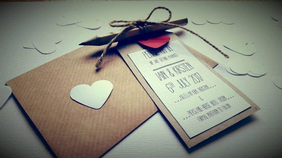 """Save the Date """"Pencil us in"""" Vintage Luggage tag magnet"""