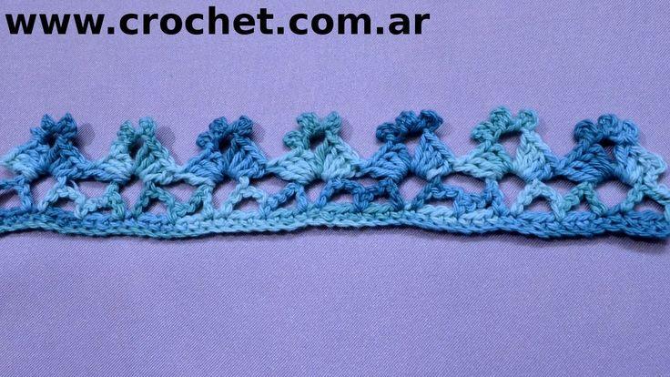 Puntilla N° 50 en tejido crochet tutorial paso a paso.