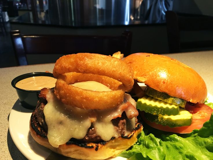 Appalachian Brewing Co.  THE YURT Bourbon BBQ bacon, melted Cheddar cheese and two fried onion rings, lettuce, tomato, pickle and Root Beer BBQ ranch. #RanchBurger